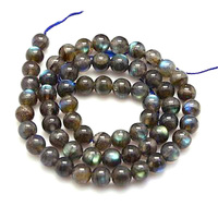 Natural Labradorite Beads Strands Grade AA Round Black 8mm Hole 1mm