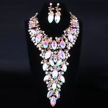 Роскошный комплект farlena из ожерелья и серег с большими кристаллами