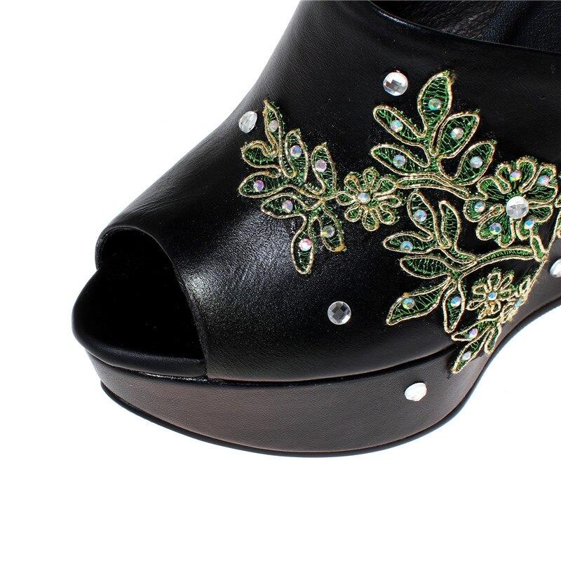 Negro Cuñas Tacón Genuino Sexy Cristal Mujer Verano Mujeres Zapatos Casuales plata Señoras Cuero Zapatillas De Alto CrqwC6a