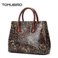 TOMUBIRD 2017 New Women Genuine Leather Bag Brands National Wind Embossed Luxury Women Tote Bag Top