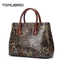 TOMUBIRD 2017 New Women Genuine Leather Bag Brands National Wind Embossed Luxury Women Tote Bag Top