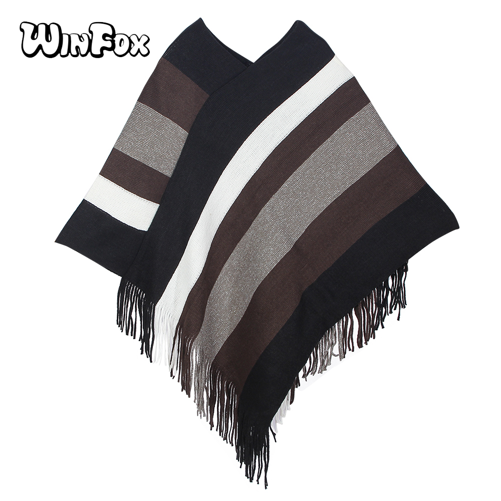 Winfox 2018 New Fashion Winter Stole Tassel Cardigan Coat Multicolor Knitted Striped Poncho Scarf Women Ladies
