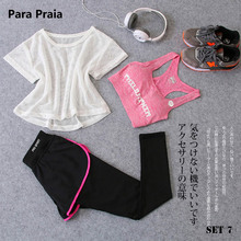 Sport Wear Three Piece Yoga Set Sport Shirt for Women Sports bra Fitness Flare Pants Leggings Tracksuit Gym Leggings 15 Colours