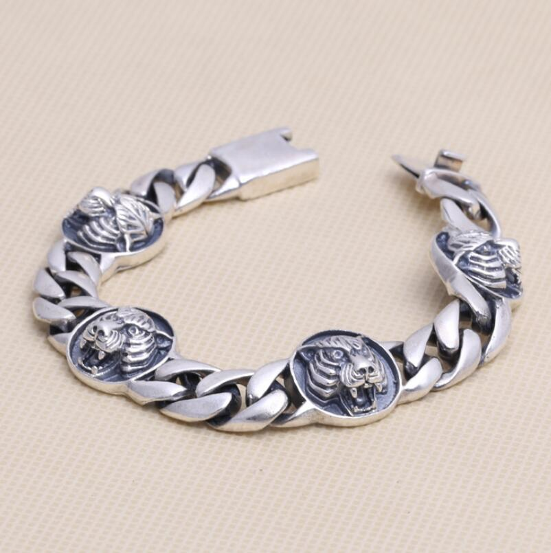 Pure Silver S925 Tiger Head Bangle Bracelet Sterling 925 Silver Male Jewelry