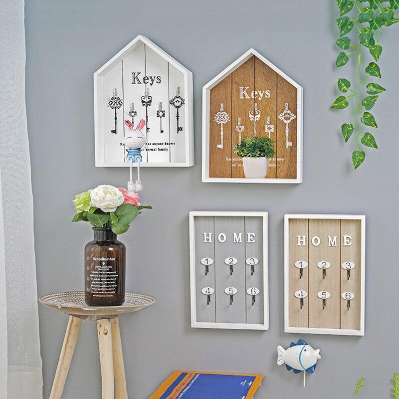 Wooden Storage Hook For Keys Hanger Shelf Kitchen Organizer Wall Decor Hanging Shelves Wall-Mounted Room Decoration Rack