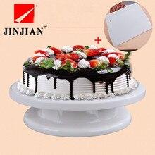 JINJIAN Cake deco Icing-friedliches Drehteller Kuchen Ständer & Spachtel Als Geschenk Weiß Kunststoff Fondant 28 cm Küchen-backen-werkzeug DIY