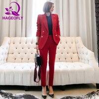 HAGEOFLY Autumn Red Women's Suit Elegant Fashion Double Button OL Notched 2 Pieces Set Bussines Office Lady Blazer Pants Suits
