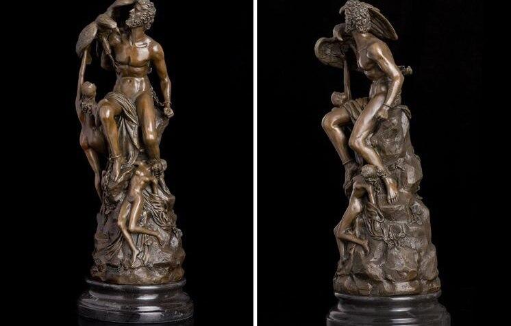 Art Déco Sculpture Prometheus Grèce Mythique caractères Bronze Statue