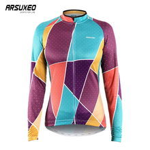 ARSUXEO Women Cycling Jersey Long Sleeve Printing Mountain Bike Breathable Bicycle Quick Drying Clothing