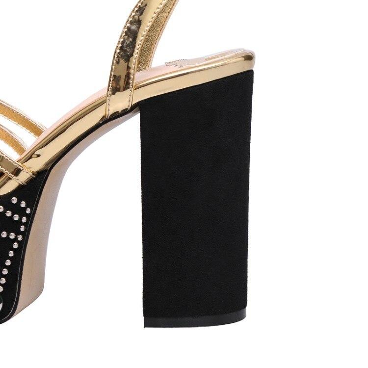 Tacones Sandalias Tobillo Plataforma Vestido Mujer 12 Correa plata Runway Chunky Cm Altos Oro Oro Calzado Zapatos Partido Remaches Para Beertola Hebilla qBft76Twx7
