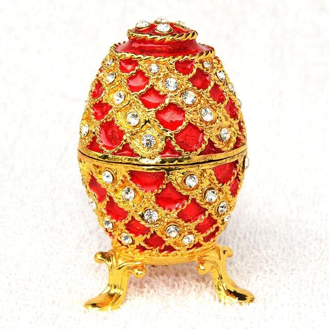 New arrival Russian faberge Red egg jeweled jewelry box Easter egg  bejeweled trinket box metal Box fe50503e6bca