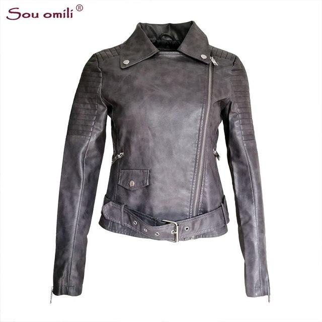 356585b54fd Autumn Grey Faux Leather Jacket Women Moto Biker Jacket Zip Belt Coats  chaqueta Blazer PU Jack Rock cuir femme casaco 2018
