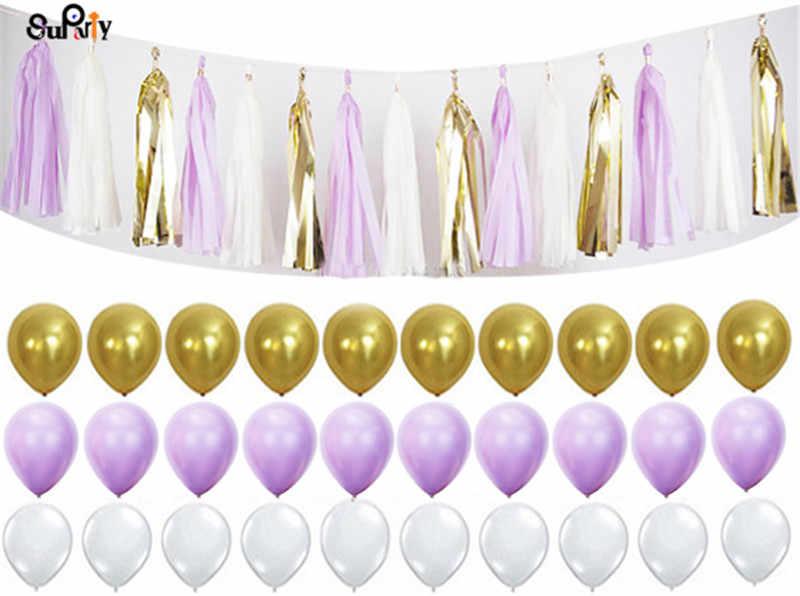 1 компл. Сирень бело-золотые Бумага фонарь ткань помпонами висит кисточкой Гирлянда с воздушными шариками для свадьбы День рождения Baby Shower поставки