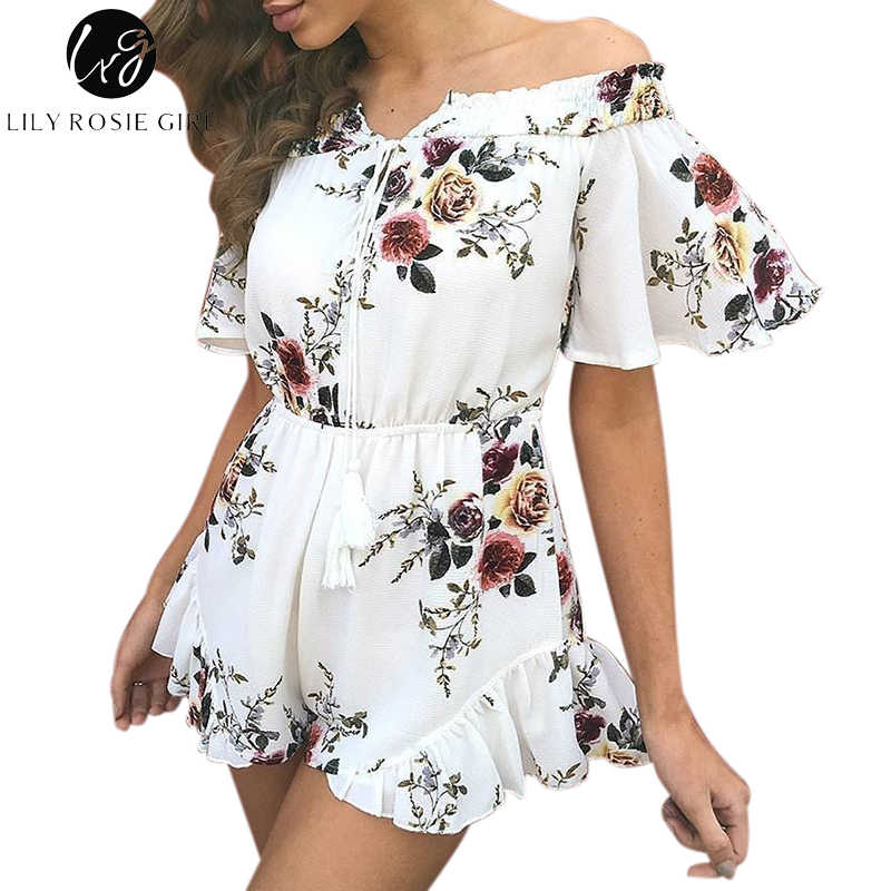 ebd4d5200f Lily Rosie Girl Off Shoulder White Boho Floral Print Ruffles Playsuits Women  Sexy Summer Beach Jumpsuits