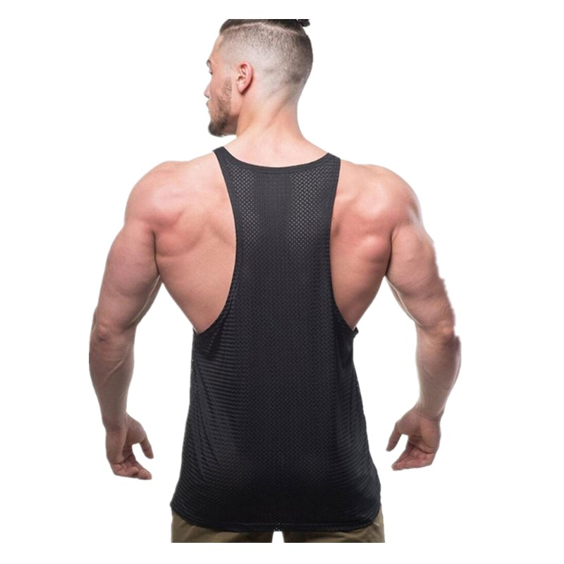 Men Summer New Fashion Casual Brand Vest Polyester fabric Mesh Quick drying Breathable Men Gyms Fitness Bodybuilding Tank Tops in Tank Tops from Men 39 s Clothing