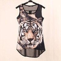 2014 Summer New Tops Woven Digital Printed Tiger Sleeveless T Shirts Vest Knitted LYCRA Chiffon Women