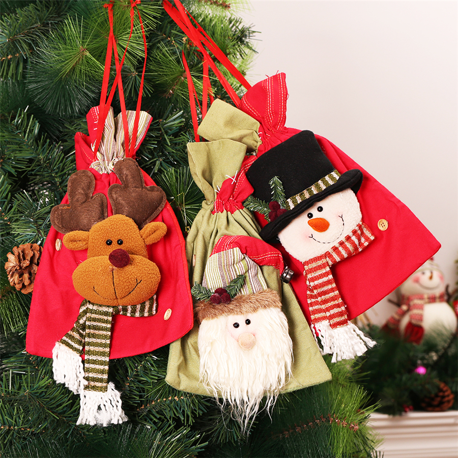 christmas bags big size gift bags for kids snowman santa storage bags for candy apple hanging christmas tree decoration navidad - Christmas Tree Bags
