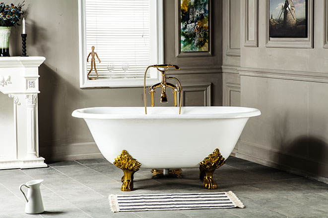 60 CUPC Approval Freestanding Luxury Bathtub Cast Iron Double Ended Tub 1013