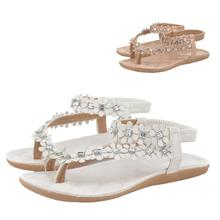 Jasmine Women Summer Bohemia Flower Beads Flip-flop Shoes Flat Sandals 0110 drop shipping