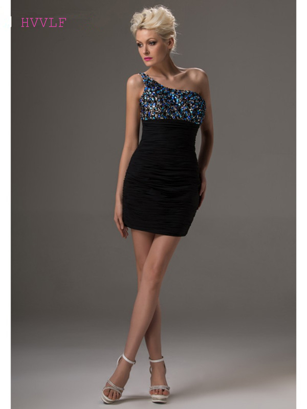 Black 2019 Elegant Cocktail Dresses Sheath One-shoulder Short Mini Chiffon Beaded Crystals Plus Size Party Homecoming Dresses