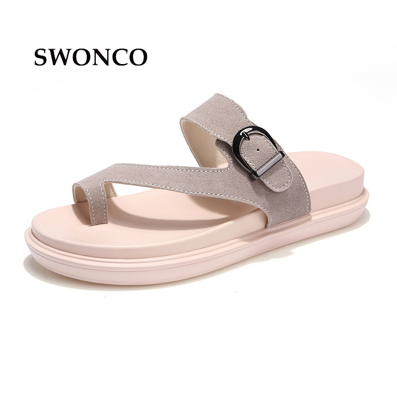 SWONCO Women's Slippers 2018 Summer Genuine Leather Beach Shoes Slippers Women Summer Sandals Flip Flop Female Shoes swonco women s slippers half shoes candy color breathable female slipper 2018 woman slippers summer sandals ladies beach shoes