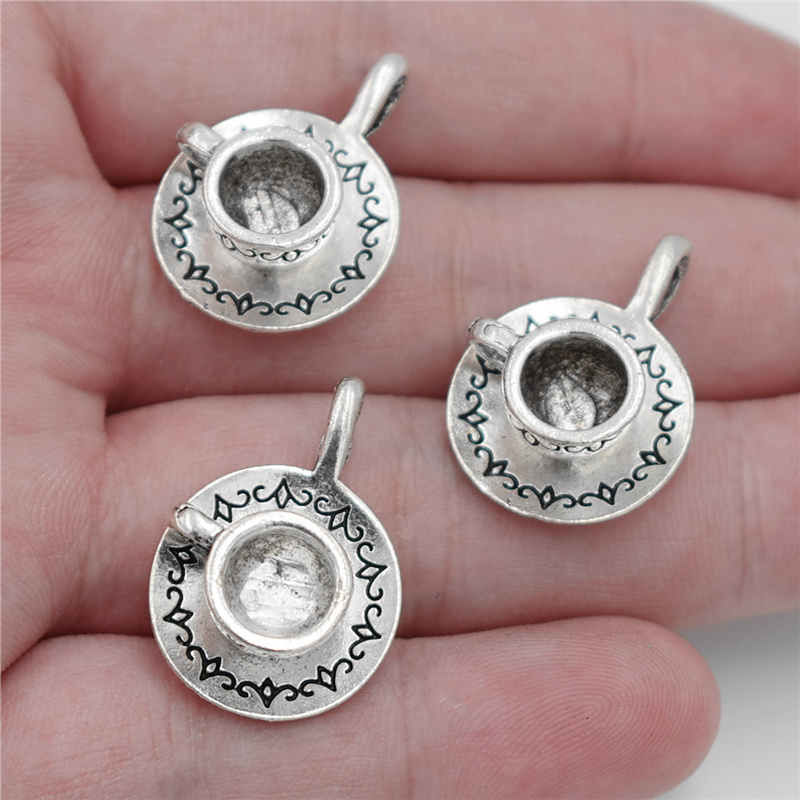 2pcs 27*19*9mm Antique Silver Plated 3D Coffee Cup Charms Teacup Pendants for Necklace DIY Jewelry Findings Handmade Craft