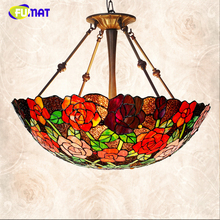 FUMAT Rose shade Lamp Romantic Stained Glass Pendant Lamps Living Room Hotel LED Light Deco Lampe For Bed Room Pendant Lights