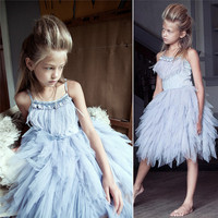 Summer Foreign Trade Exploded Girl Swan Feather Drill Sequins Nail Pearl Dress Girls Birthday Wedding Performance Costume Dress