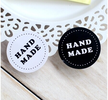 80PCS/lot Round Black And White HAND MADE Craft Paper Sealing Sticker Vintage DIY Gifts Posted Baking Decoration Label