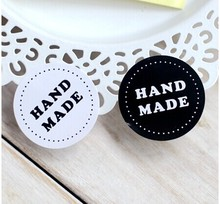Round Black and white HAND MADE Craft paper Sealing sticker/Vintage DIY Gifts posted/Baking Decoration label (400pcs) 80 pcs lot black white round handmade craft paper seal sticker diy gifts sealing stickers posted for baking decoration label