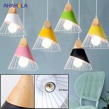 Wood Metal E27 Led Pendant Light Bedroom Hanging Light Fixtu