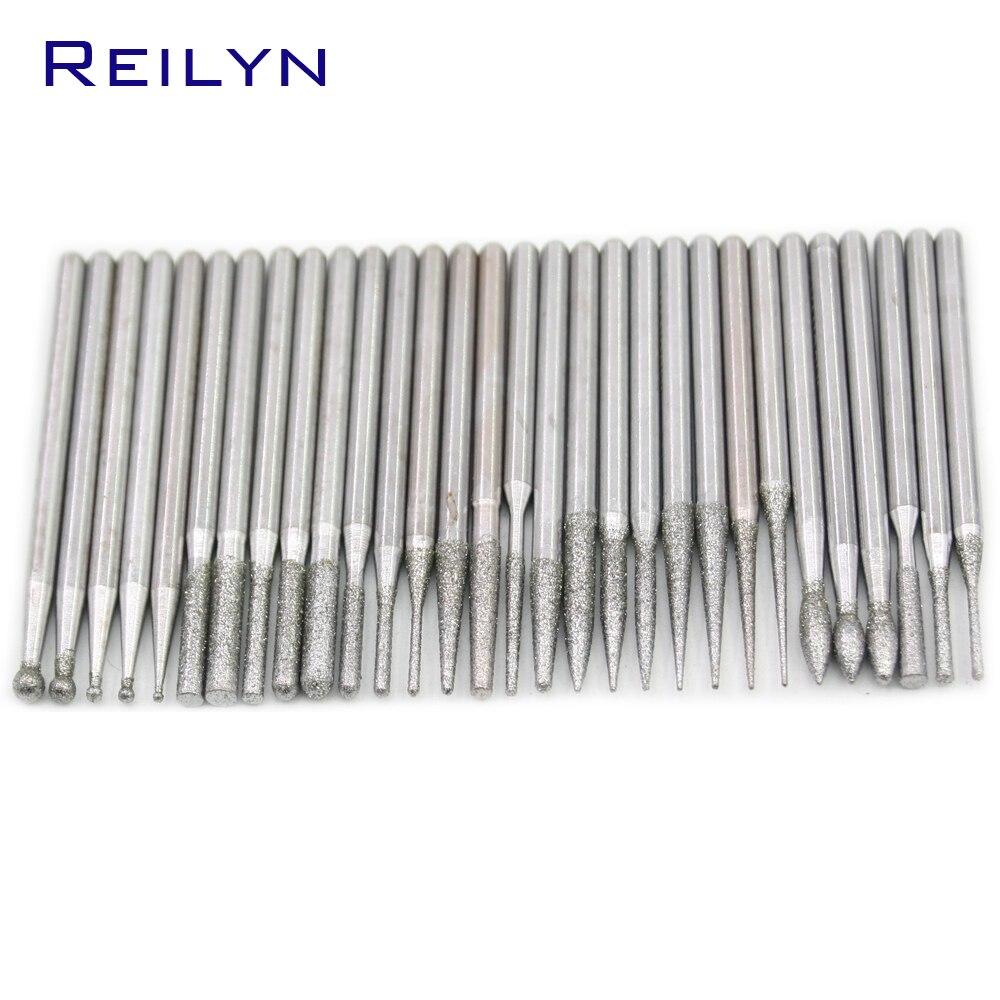 Free Shipping 30pcs Grit Size #120 Diamond Abrasive Bits Grinding Needle Manicure Knife Naild Beautifying Dremel/rotary Tools