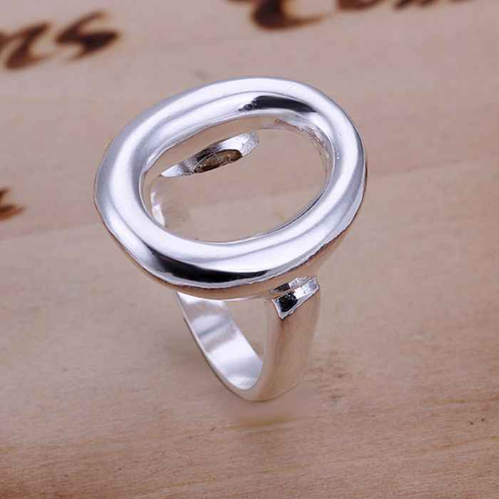 925 jewelry silver plated  Ring Fine Fashion Simple O Opening Silver Jewelry Ring Women&Men Finger Rings SMTR008