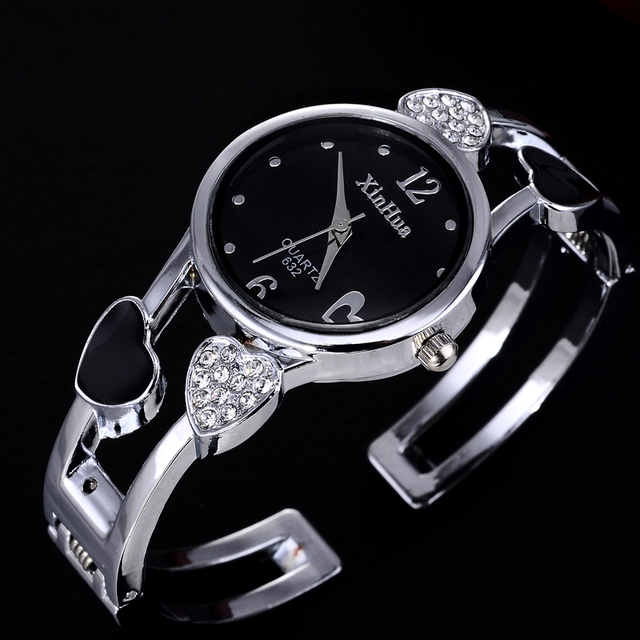 heart shaped bracelet watch women watches luxury rhinestone women's watches ladi