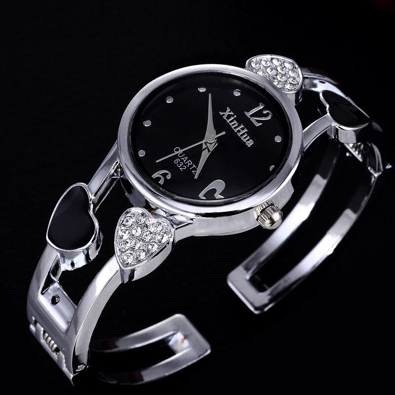 Heart Shaped Bracelet Watch Women Watches Luxury Rhinestone Women's Watches Ladies Watch Stainless Steel Clock Zegarek Damski