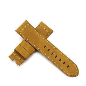 Image 5 - 24 milímetros Itália Couro faixa de Relógio Amarelo Macio Watch Band Cinta com Fivela de Implantação para 24mm PANERAI Relógios Pulseira