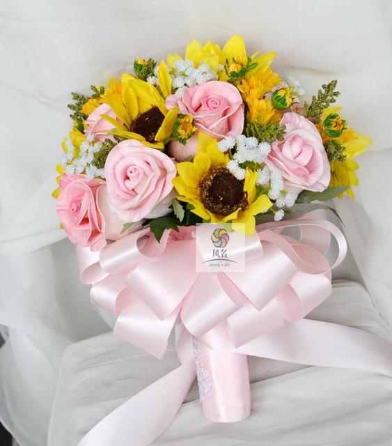 Wedding bridal bridesmaid bouquet handmade bride bouquets yellow wedding bridal bridesmaid bouquet handmade bride bouquets yellow pink artificial flower sunflower rose holding flower home mightylinksfo