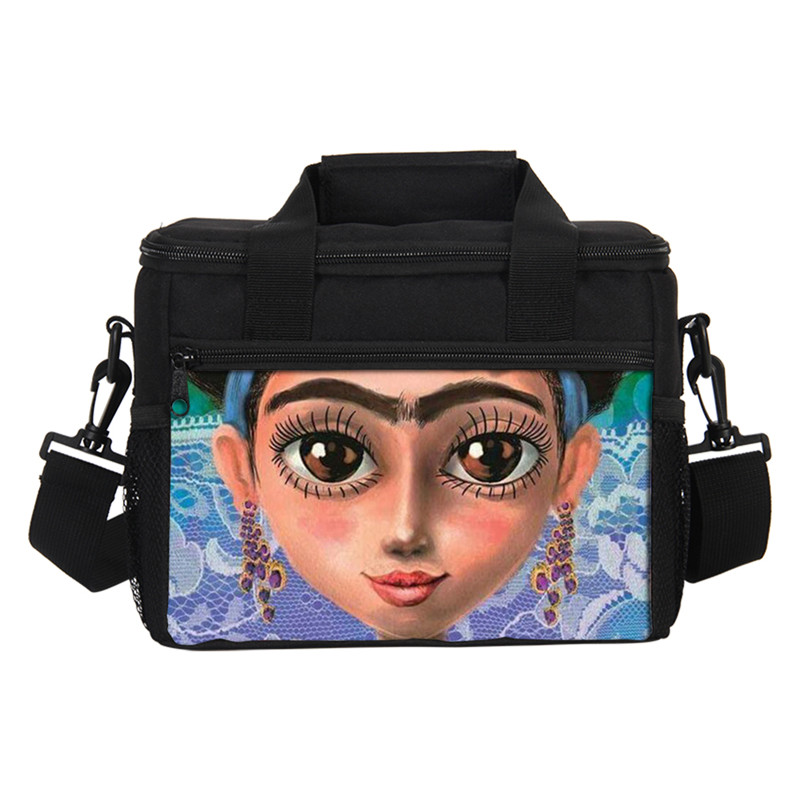 VEEVANV 3D Prints Frida Kahlo Thermal Insulated Cooler Bags Kids Insulated Women Portable Waterproof Lancheira Thermo Lunch Box
