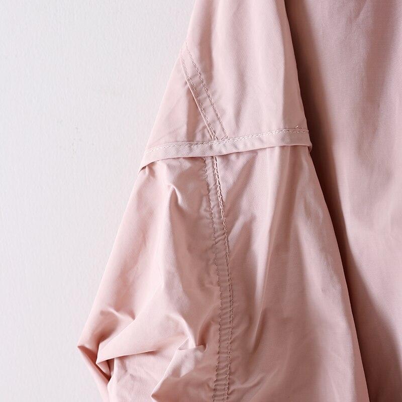 Manteau Taille Grande Black vent Mosaïques Coupe Éclair Plissée Chapeau Arts pink Femmes Loisirs beige W1711 Et Fermeture wx1qEA17t