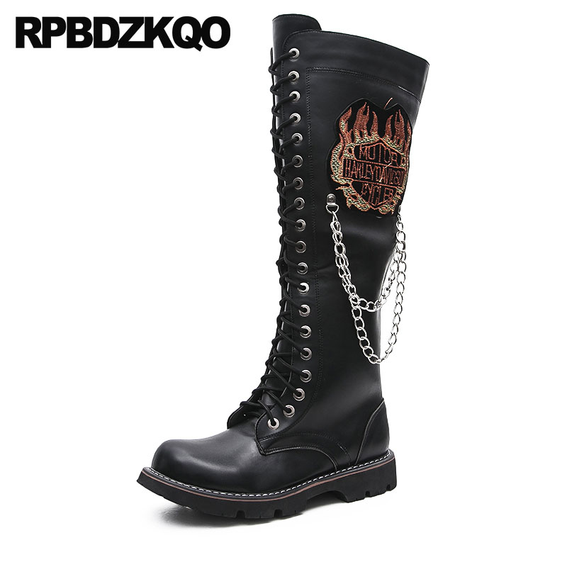 Black Faux Fur Shoes Knee High Waterproof Mens Leather Tall Boots Motorcycle Runway Designer Metalic Winter Men Embellished Punk open front faux fur embellished sleeveless cardigan