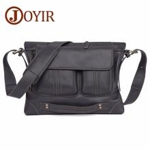 JOYIR Genuine Leather Men Bag Vintage Casual Totes Handbags Messenger Bags Briefcase Mens Travel Multifunction Shoulder