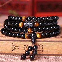 Черные 108 молитвенные бусины тигровый глаз каменный браслет ожерелье Хрустальная нить искусственный буддийский Будда любимый счастливый амулет ювелирные изделия