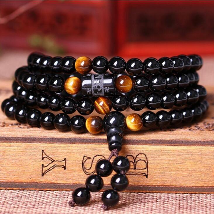 Black 108 Prayer Beads Tiger Eye Stone Bracelet Necklace Crystal Strand Mala Rosary Buddhist Buddha Lover Lucky Amulet Jewelry
