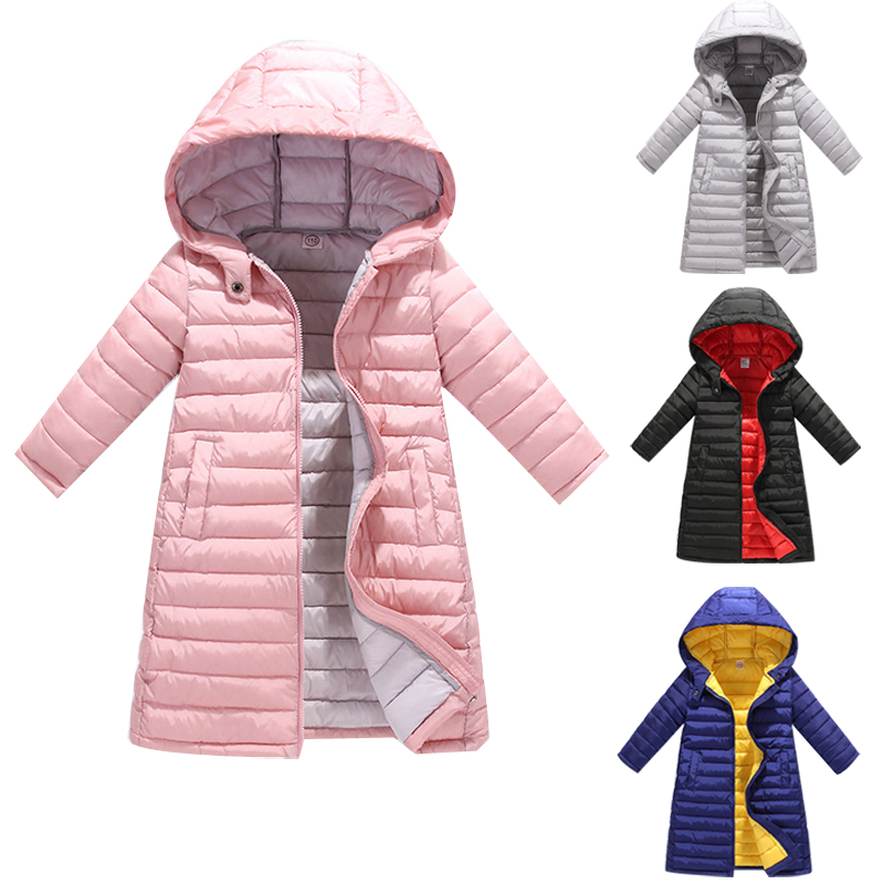 Autumn long Girl Jackets for Girls Children's pink Thin Cotton Winter Coat Clothing Kid Hooded Padded Jacket Parka Overcoat new pure color hooded cotton padded clothing jackets business long thick winter coat men solid parka fashion overcoat outerwear