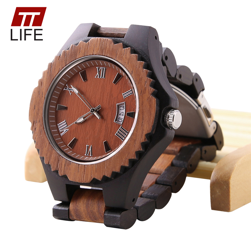 online get cheap mens bangle watch aliexpress com alibaba group ttlife bangle wood mens watches analog date folding clasp quartz casual wooden wristwatch relogio masculino