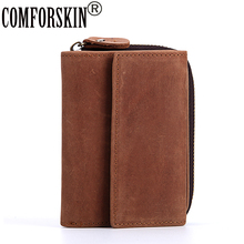 COMFORSKIN Brand Genuine Leather Short Business Multi-Card Men Wallet Design Retro Card 2018 European And American Style