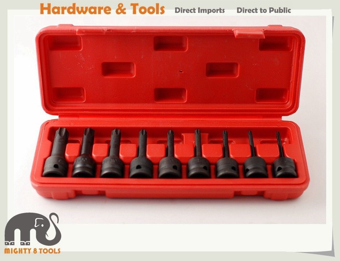 9pc Cr-Mo 1/2in Dr 75mmL Torx Star Impact Socket BitsSet T20,T25,T30,T40,T45,T50,T55,T60,T70 jetech 8pcs 3 long black impact torx star socket bit 1 2 drive t30 t40 t45 t47 t50 t55 t60 t70 sleeve length 78mm without hole