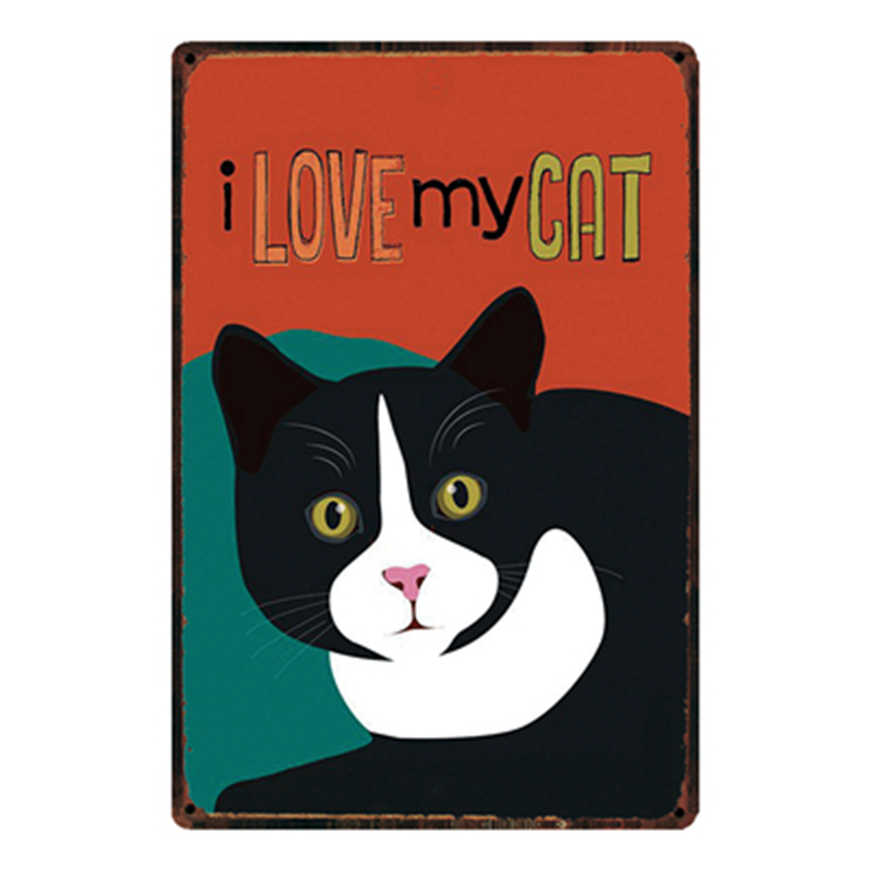 Vintage Metal Cat Signs