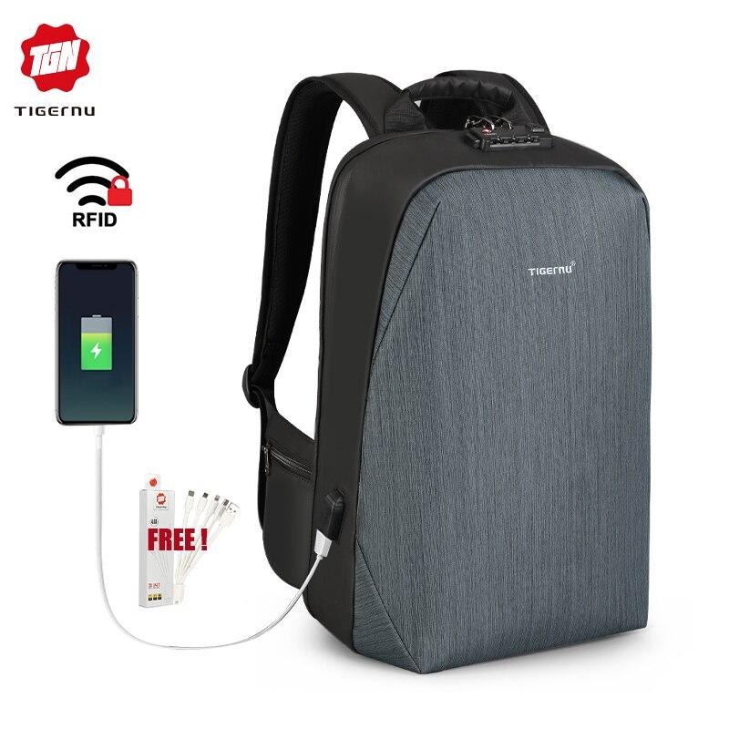 Tigernu Anti-thief Men USB Charger backpack Waterproof Laptop school Bag