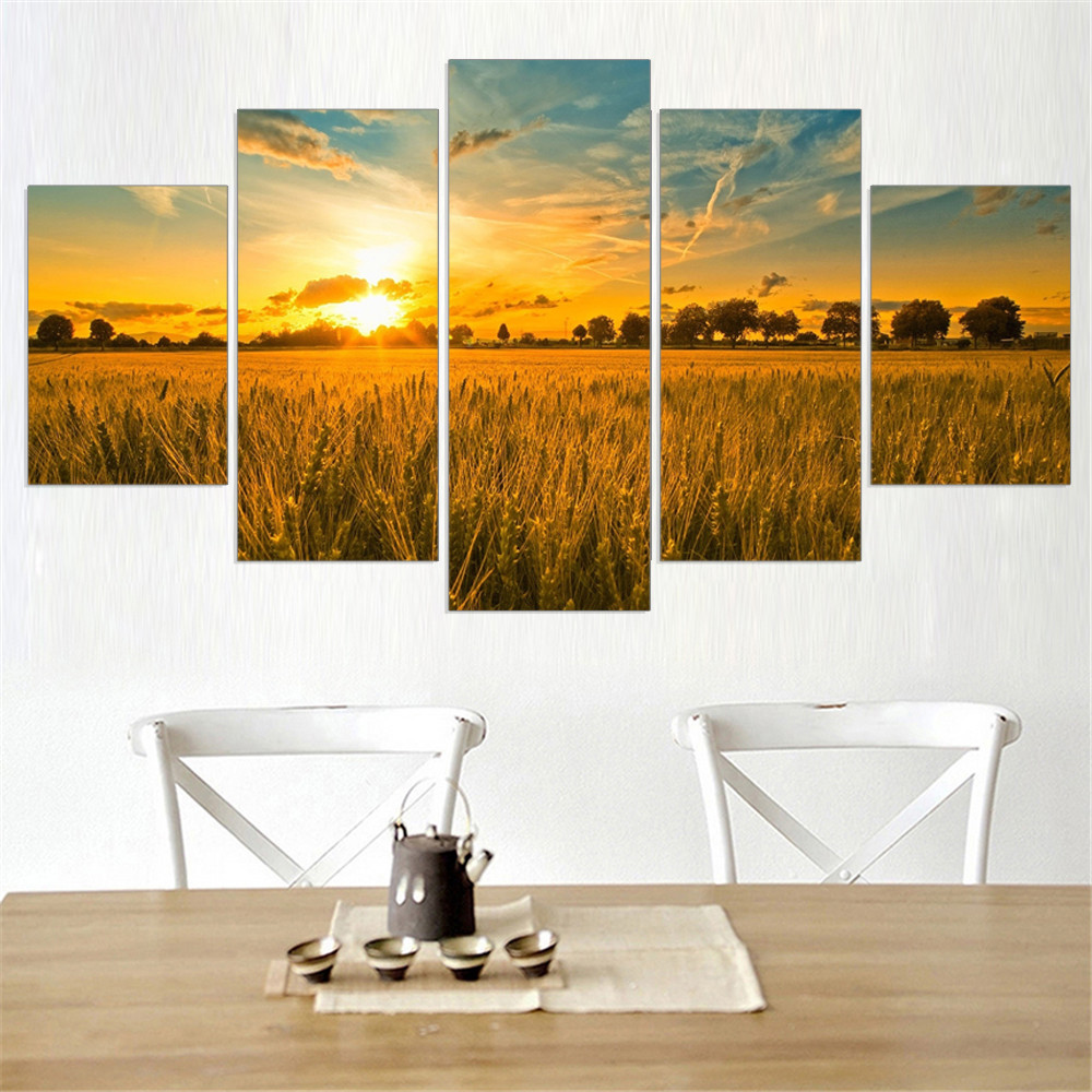 Frameless Golden Rice Field Oil Painting Bright Sunset Modular Plant Canvas Picture Art Works Home Decoration Free Shipping 5pcs